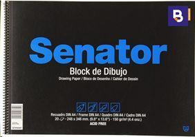 BLOCK DE DIBUJO SENATOR DIN A4 20 HOJAS CON RECUADRO 2 TALADROS