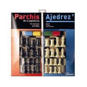TABLERO AJEDREZ / PARCHIS CON FICHAS FOURNIER