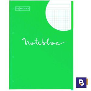 BLOC RECAMBIO MICROPERFORADO CUADRICULADO A4 90G NOTEBOOK MIQUELRIUS EMOTIONS VERDE 7130