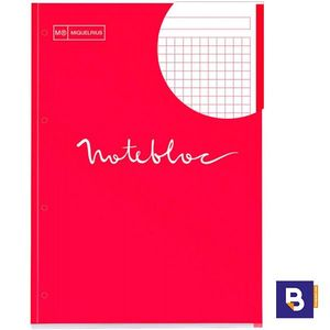 BLOC RECAMBIO MICROPERFORADO CUADRICULADO A4 90G NOTEBOOK MIQUELRIUS EMOTIONS ROJO 7134