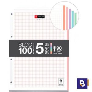 RECAMBIO BLOC A4 90G CUADRICULADO NOTEBOOK 5 COLORES PASTEL EMOTIONS MIQUELRIUS 9012