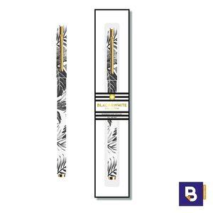 BOLIGRAFO MIQUELRIUS METALICO TROPICAL BLACK&WHITE COLLECTION TINTA GEL CON CAJA 11486