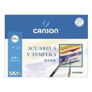 LAMINA DIBUJO CANSON ACUARELA Y TEMPERA PACK 6 23X32,5