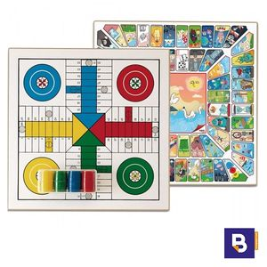TABLERO PARCHIS Y OCA CON FICHAS CUBILETES Y DADO CAYRO THE GAMES 33X33 T131A