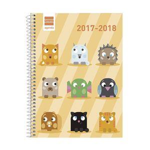AGENDA ESCOLAR FINOCAM 1/4 SEMANA VISTA BASICA ANIMALS 530000518 2017/18