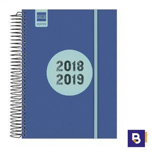 AGENDA ESCOLAR FINOCAM 2018/19 DIA PAGINA 1/4 ESPIR LABEL AZUL COBALTO E10 633121519