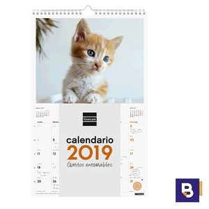 CALENDARIO DE PARED 2019 FINOCAM ESPIRAL CON IMAGENES DE GATITOS ENTRAÑABLES 780552919