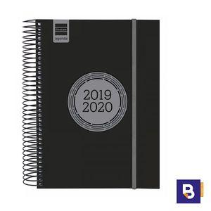 AGENDA ESCOLAR 2019/20 FINOCAM DIA PAGINA E10 155X215 ESPIRAL LABEL NEGRO 633126020