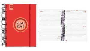 AGENDA ESCOLAR FINOCAM 2020/21 1/4 DIA/PAGINA ESPIR LABEL ROJO REF 633123021