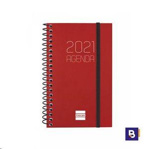 AGENDA BOLSILLO 2021 ESPIRAL 79X127 SEMANA VISTA FINOCAM OPAQUE BURDEOS