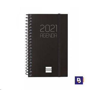 AGENDA BOLSILLO 2021 ESPIRAL 79X127 SEMANA VISTA FINOCAM OPAQUE NEGRO