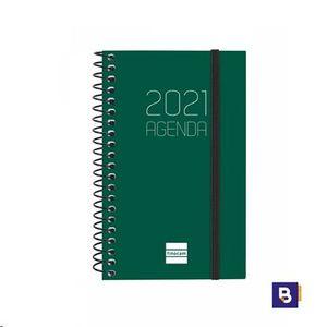AGENDA BOLSILLO 2021 ESPIRAL 79X127 SEMANA VISTA FINOCAM OPAQUE VERDE