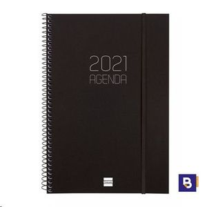 AGENDA 2021 ESPIRAL A5 SEMANA VISTA FINOCAM OPAQUE NEGRA