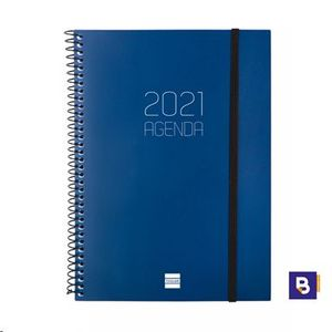 AGENDA 2021 ESPIRAL A5 SEMANA VISTA FINOCAM OPAQUE AZUL