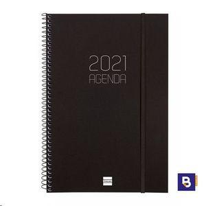 AGENDA 2021 ESPIRAL A5+ SEMANA VISTA VERTICAL FINOCAM OPAQUE NEGRA