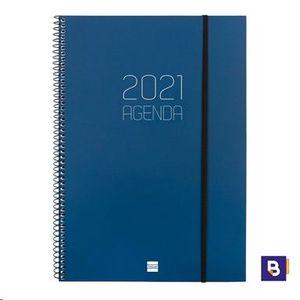 AGENDA 2021 ESPIRAL A5+ SEMANA VISTA VERTICAL FINOCAM OPAQUE AZUL