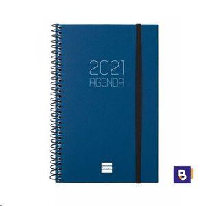 AGENDA 2021 ESPIRAL 117X181 DIA PAGINA FINOCAM OPAQUE AZUL
