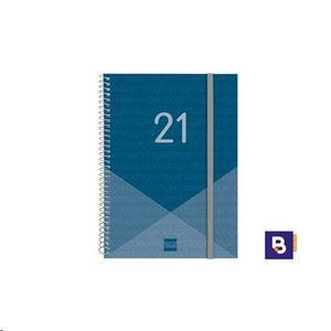 AGENDA BOLSILLO 2021 ESPIRAL 79X127 SEMANA VISTA FINOCAM YEAR E3 AZUL