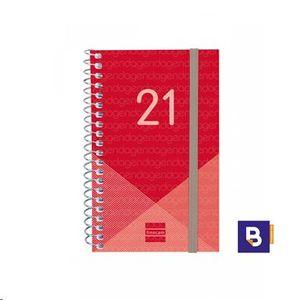AGENDA BOLSILLO 2021 ESPIRAL 79X127 DIA PAGINA FINOCAM YEAR ROJO