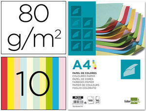 PAPEL COLOR LIDERPAPEL A4 80G/M2 10 COLORES SURTIDOS PAQUETE DE 100