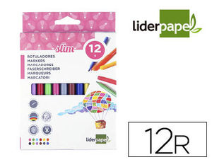 ROTULADORES LIDERPAPEL 12 COLORES SLIM
