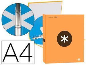 CARPETA LIDERPAPEL ANTARTIK A4 FORRADA 4 ANILLAS 25 MM REDONDAS COLOR NARANJA.
