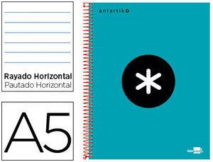 CUADERNO ESPIRAL LIDERPAPEL A5 MICRO ANTARTIK TAPA FORRADA 120H 100 GR HORIZONTAL 5 BANDAS 6 TALADRO