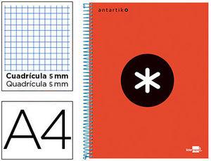 BLOC MICROPERFORADO LIDERPAPEL A4 MICRO ANTARTIK TAPA FORRADA 120H 100 GR CUADRO5MM 5 BANDAS 4 TALADROS COLOR ROJO