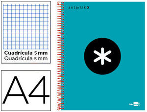 BLOC MICROPERFORADO LIDERPAPEL A4 ANTARTIK TAPA FORRADA 120H 100 GR CUADRO5MM 5 BANDAS 4 TALADROS COLOR TURQUESA