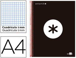 BLOC MICROPERFORADO LIDERPAPEL A4 ANTARTIK TAPA FORRADA 120H 100 GR CUADRO5MM 5 BANDAS 4 TALADROS COLOR NEGRO