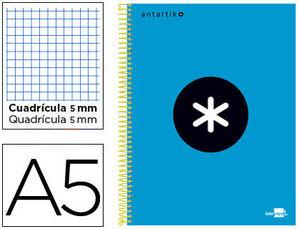 BLOC MICROPERFORADO A5 ANTARTIK 5X5 120H 100 GR TAPA FORRADA AZUL