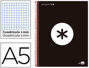 BLOC MICROPERFORADO LIDERPAPEL A5 ANTARTIK TAPA FORRADA 120H 100 GR CUADRO5MM 5 BANDAS 6 TALADROS
