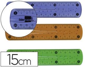 REGLA LIDERPAPEL PLASTICO FLEXIBLE DE 15 CM COLORES SURTIDOS