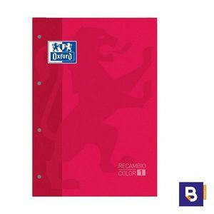 BLOC DE RECAMBIO OXFORD CUADRICULADO A4 80H 90G COLOR 1 ROJO 400 123 673