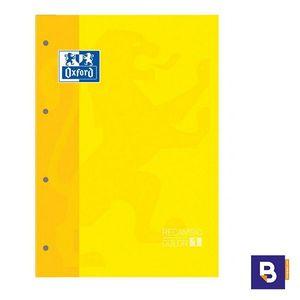 BLOC DE RECAMBIO OXFORD CUADRICULADO A4 80H 90G COLOR 1 AMARILLO 400 123 675