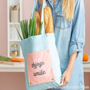 BOLSA PLEGABLE TOTE BAG MR WONDERFUL PARA LLEVAR EN EL BOLSO DO SMALL THINGS WITH AN EXTRA LARGE SMILE