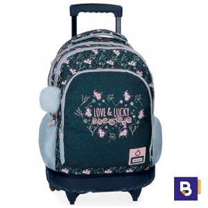 MOCHILA DOBLE CON CARRO FIJO ENSO LOVE AND LUCKY CON POMPON 9112961