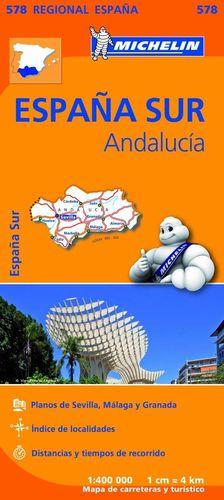 MAPA MICHELIN ANDALUCIA ESPAÑA SUR REGIONAL 578