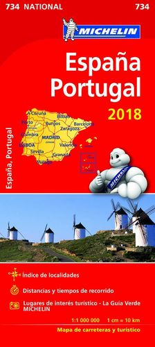 MAPA NATIONAL ESPAÑA - PORTUGAL 734 MICHELIN 2018
