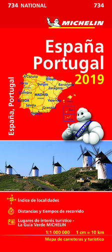 MAPA NATIONAL ESPAÑA - PORTUGAL MICHELIN 734
