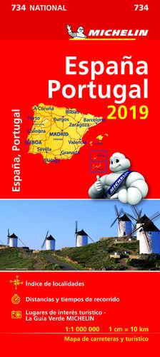 MAPA NATIONAL ESPAÑA - PORTUGAL MICHELIN 734