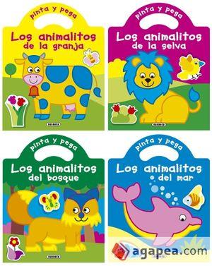 PINTA Y PEGA LOS ANIMALITOS (4 TÍTULOS) UNIDAD