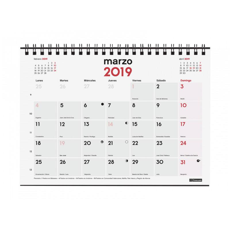 Calendario Para Escribir.Calendario Sobremesa Finocam 2019 Para Escribir S Mes A La Vista 780100019 Breapaper