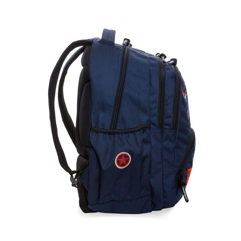 MOCHILA TRIPLE COOLPACK BENTLEY BADGES BLUE B24053 PARCHES AZUL OSCURO